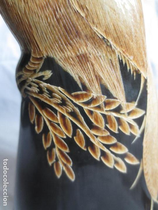 Arte: PAREJA DE AVES DEL PARAISO TALLADOS EN CUERNO DE BUFALO TAILANDES - Foto 11 - 154115790