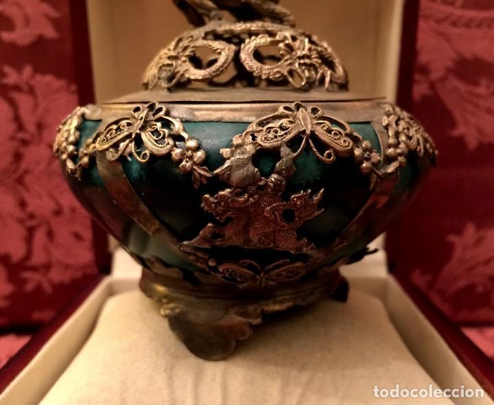 Arte: INCENSARIO CHINO EN JADE Y PLATA TIBETANA CON LEÓN FU - 244 GRAMOS. - Foto 7 - 154304554