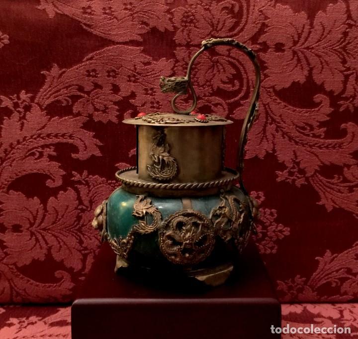 INCENSARIO CHINO EN JADE Y PLATA TIBETANA CON BUDA INTERIOR. (Arte - Étnico - Asia)