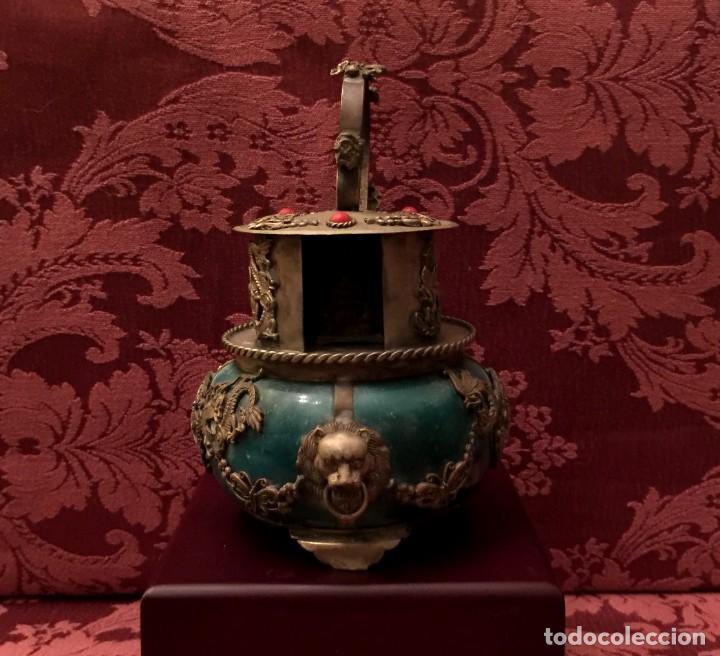 Arte: INCENSARIO CHINO EN JADE Y PLATA TIBETANA CON BUDA INTERIOR. - Foto 2 - 252877100