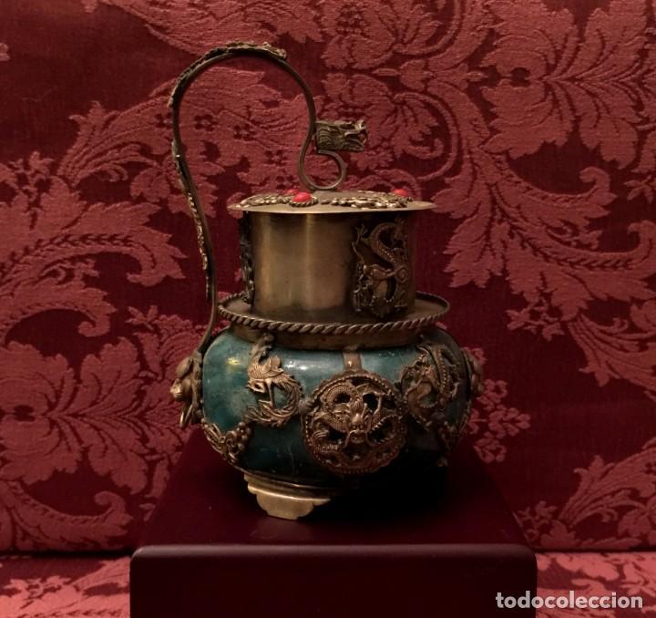 Arte: INCENSARIO CHINO EN JADE Y PLATA TIBETANA CON BUDA INTERIOR. - Foto 3 - 252877100