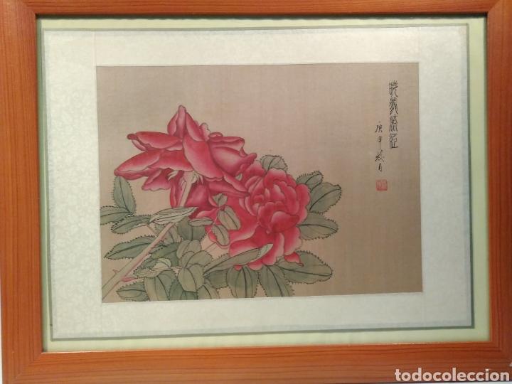MAGNÍFICA ACUARELA CHINA SOBRE SEDA CON FIRMA DE AUTENTICIDAD (Arte - Étnico - Asia)