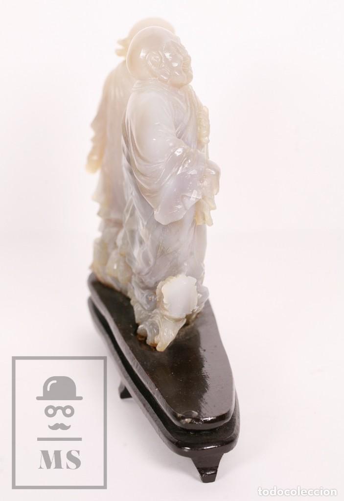 Kunst: Antigua Figura Oriental Tallada en Jade Blanco - Base de Madera - Restauración - Med. 20 x 6 x 16 cm - Foto 14 - 156497010
