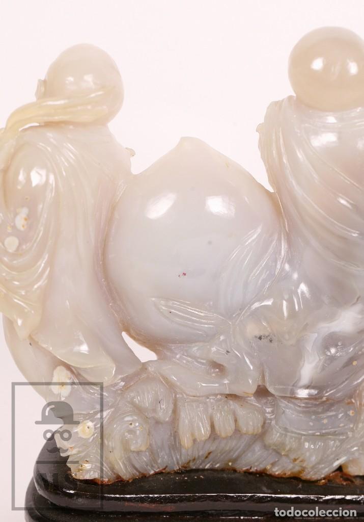 Kunst: Antigua Figura Oriental Tallada en Jade Blanco - Base de Madera - Restauración - Med. 20 x 6 x 16 cm - Foto 16 - 156497010