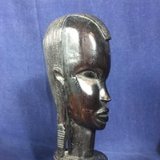 Arte: FIGURA AFRICANA MUJER BUSTO KENYA TANZANIA EBANO PULIDO AÑOS 70 80 30X8X11CMS. Lote 156722714