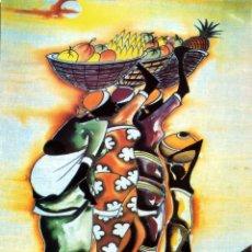 Arte: PÓSTER PLASTIFICADO MUJERES AFRICANAS LLEVANDO FRUTAS (43 X 63 CM.). Lote 158159162