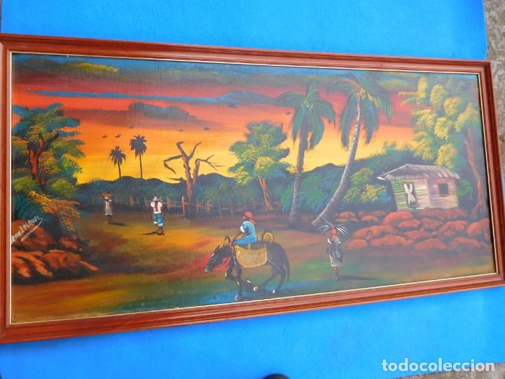 CUADRO SOBRE TELA DE 97 X 47 CM, ESTAMPA DEL CAMPO COLOMBIANO, FIRMADO POR EL AUTOR. (Arte - Étnico - América)