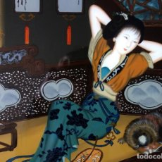 Arte: PINTURA CHINA SOBRE CRISTAL 56X37 CM. Lote 158560314