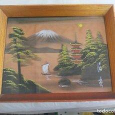 Arte: ANTIGUO CUADRO. SEDA PINTADA A MANO, PAISAJE , CON FIRMA. AÑOS 1950-60. JAPON , JAPONES, ORIENTAL. Lote 159345774