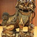 Arte: DRAGON CHINO EN MADERA. SIGLO XIX. CONSERVA CANICA EN LA BOCA. BELLA ARTESANIA. Lote 159623733