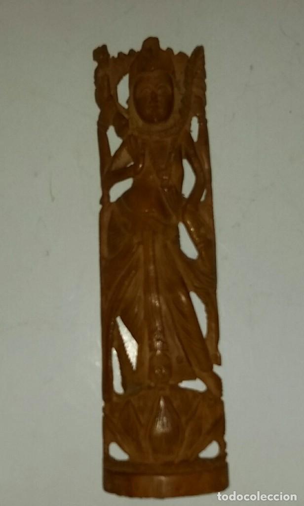 Arte: HERMOSA TALLA DE LA DIOSA SHIVA EN MADERA DE SÁNDALO. INDIA - Foto 2 - 160843418