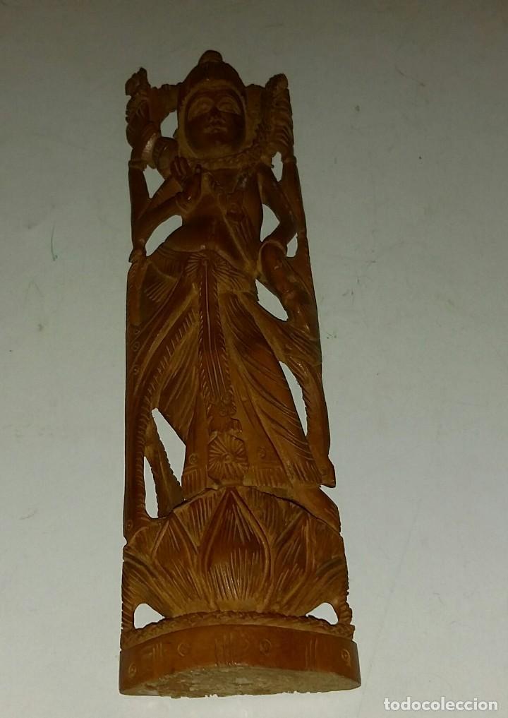 Arte: HERMOSA TALLA DE LA DIOSA SHIVA EN MADERA DE SÁNDALO. INDIA - Foto 3 - 160843418