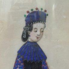 Arte: ESCUELA CHINA, DIGNATARIA CHINA, ACUARELA SOBRE PAPEL DE ARROZ, SIGLO XIX. Lote 161276586