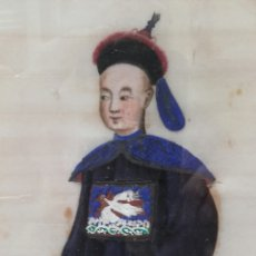 Arte: ESCUELA CHINA, DIGNATARIO CHINO, ACUARELA SOBRE PAPEL DE ARROZ, SIGLO XIX. Lote 161278226
