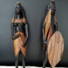 Arte: 2 FIGURAS DE ARTE AFRICANO, DE MADERA.. Lote 161781178