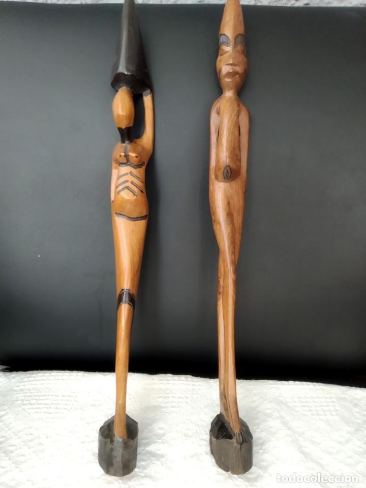 2 FIGURAS DE ARTE AFRICANO 52 CM , DE MADERA. (Arte - Étnico - África)