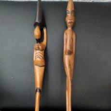 Arte: 2 FIGURAS DE ARTE AFRICANO 52 CM , DE MADERA.. Lote 161781390