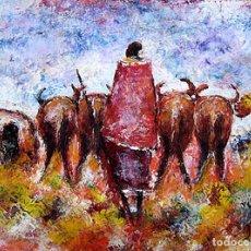 Arte: PINTURA DE ARTE AFRICANO REALIZADO A MANO SOBRE LIENZO. PASTOR MASÁI. 60X90CM.. Lote 163304218