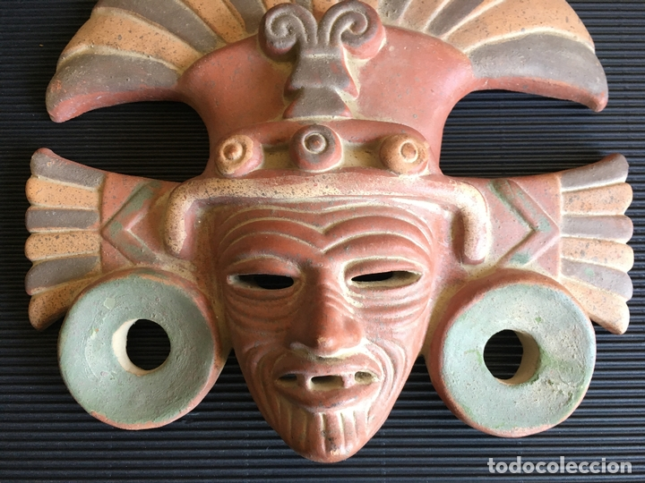 Arte: FANTASTICA MASCARA AZTECA? DE TERRACOTA POLICROMADA, FIRMADA - Foto 3 - 164592454