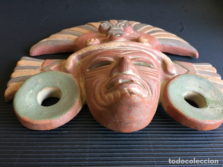 Arte: FANTASTICA MASCARA AZTECA? DE TERRACOTA POLICROMADA, FIRMADA - Foto 4 - 164592454