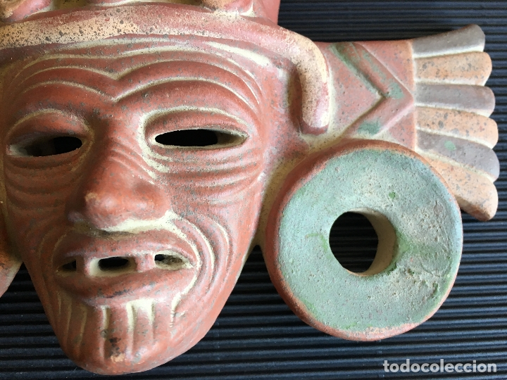 Arte: FANTASTICA MASCARA AZTECA? DE TERRACOTA POLICROMADA, FIRMADA - Foto 7 - 164592454