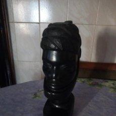 Arte: PRECIOSO BUSTO AFRICANO TALLADO EN ÉBANO,PIEZA MACIZA . Lote 164658894