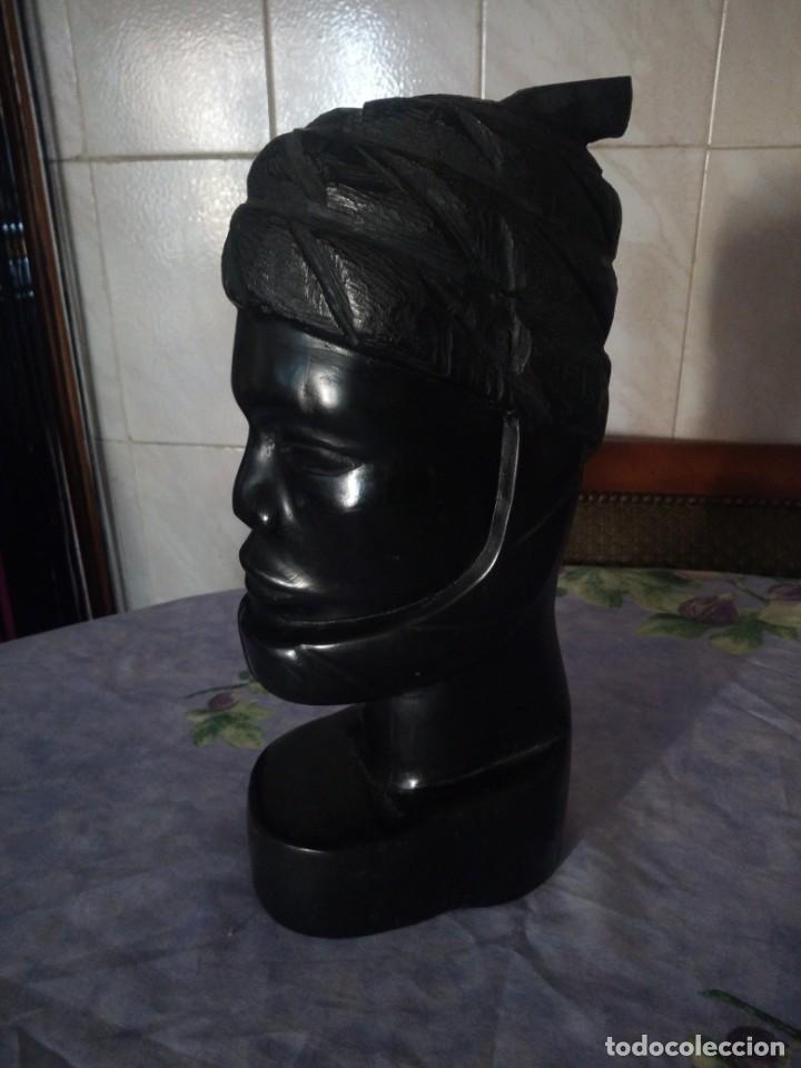 Arte: Precioso busto africano tallado en ébano,pieza maciza - Foto 2 - 164658894