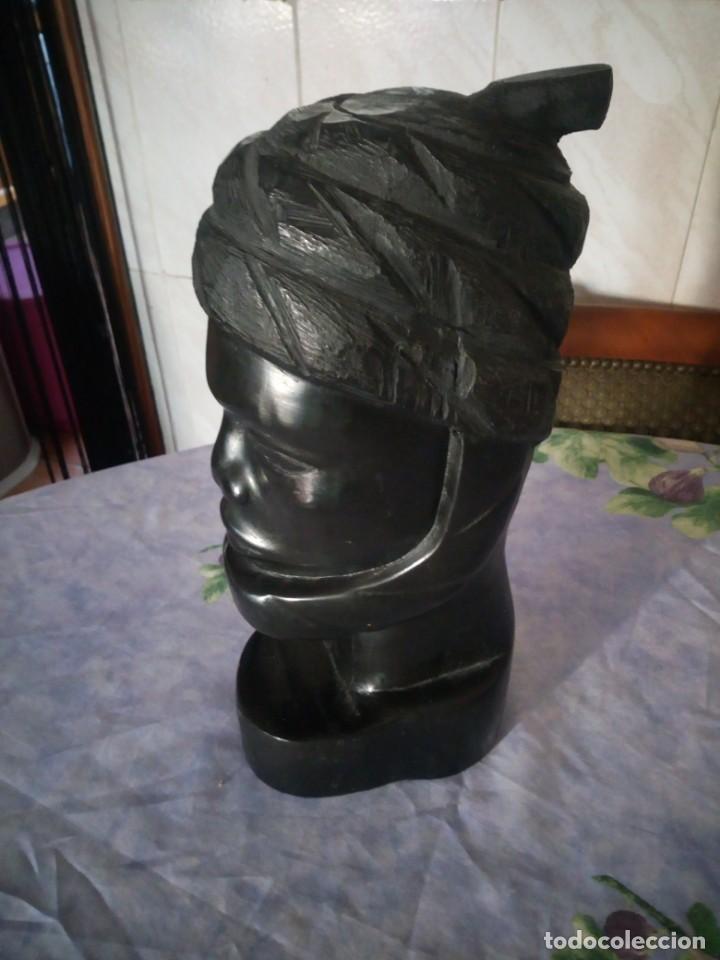 Arte: Precioso busto africano tallado en ébano,pieza maciza - Foto 3 - 164658894