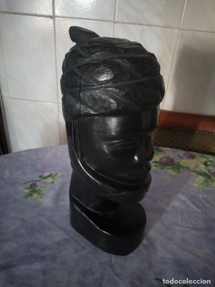 Arte: Precioso busto africano tallado en ébano,pieza maciza - Foto 4 - 164658894