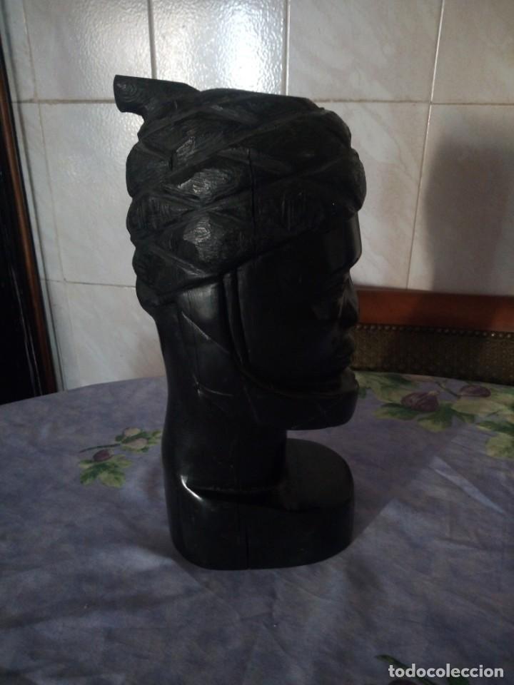 Arte: Precioso busto africano tallado en ébano,pieza maciza - Foto 6 - 164658894