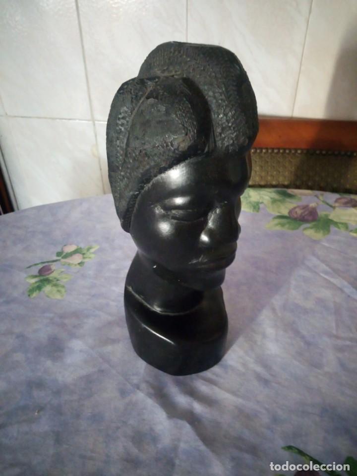 Arte: Precioso busto africano tallado en ébano.pieza maciza. - Foto 5 - 164660810
