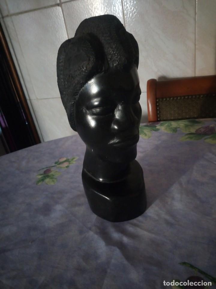 Arte: Precioso busto africano tallado en ébano.pieza maciza. - Foto 6 - 164660810