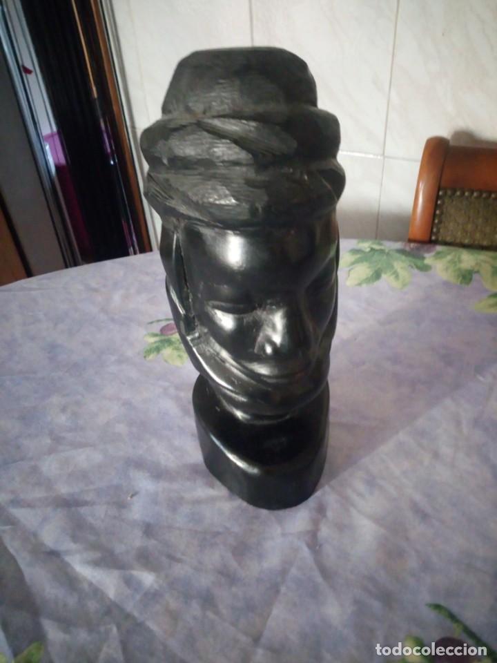 Arte: Precioso busto africano tallado en ébano,pieza maciza. - Foto 3 - 164661350