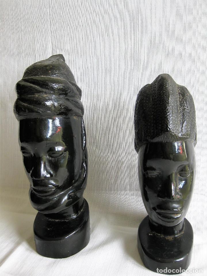Arte: PAREJA DE BUSTOS AFRICANOS EN MADERA DE EBANO LACADO - Foto 2 - 164714406