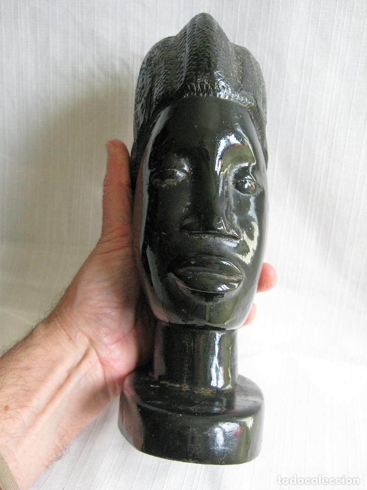 Arte: PAREJA DE BUSTOS AFRICANOS EN MADERA DE EBANO LACADO - Foto 6 - 164714406