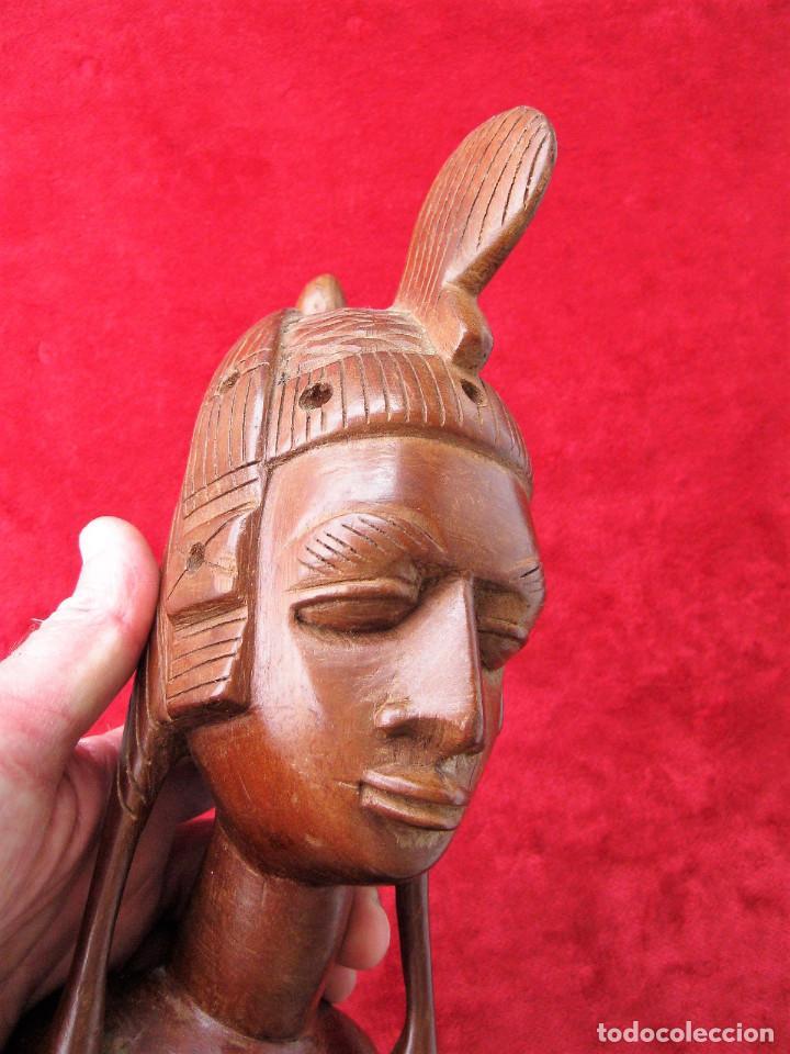 Arte: FIGURA ÉTNICA AFRICANA EN MADERA NOBLE DE UNA SOLA PIEZA. MUJER DESNUDA CON PEINADO TRIBAL - Foto 4 - 164832310