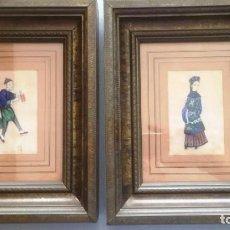 Arte: PAREJA DE CUADROS CHINOS, DE SEDA SOBRE PAPEL DE ARROZ.SIGLO XIX, UNA RARA DELICIA. Lote 166180198