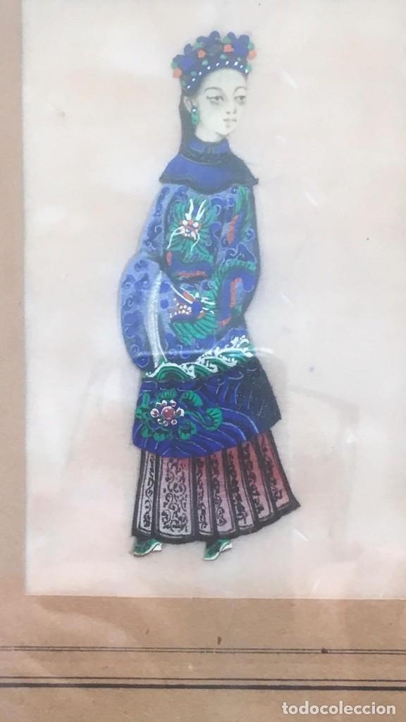 Arte: Pareja de cuadros chinos, de seda sobre papel de arroz.Siglo XIX, Una rara delicia - Foto 2 - 166180198