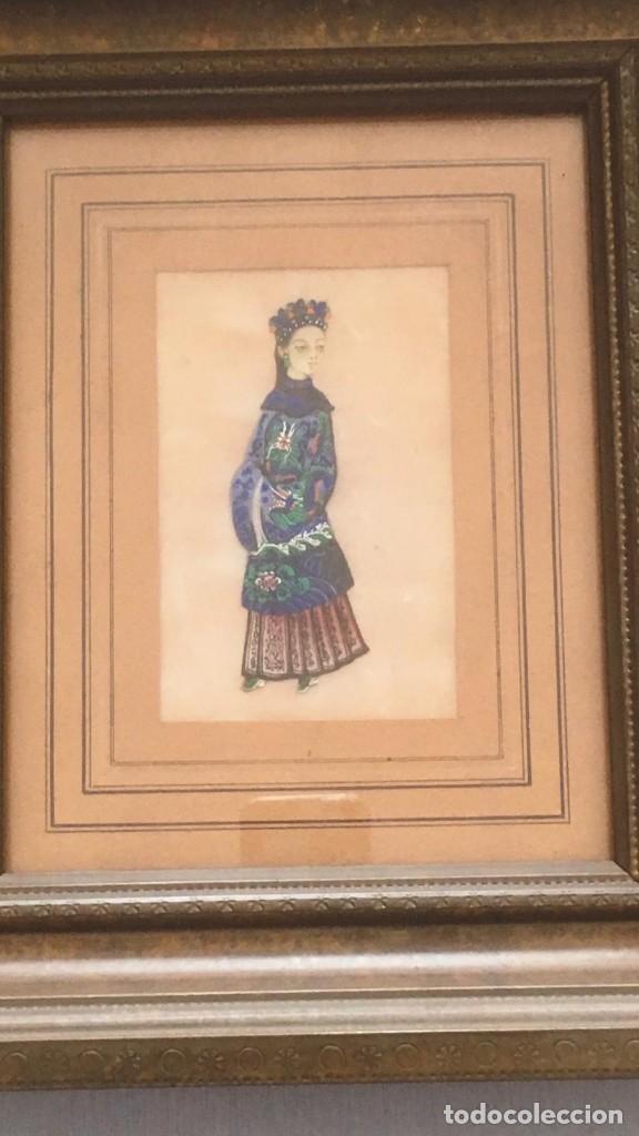 Arte: Pareja de cuadros chinos, de seda sobre papel de arroz.Siglo XIX, Una rara delicia - Foto 3 - 166180198