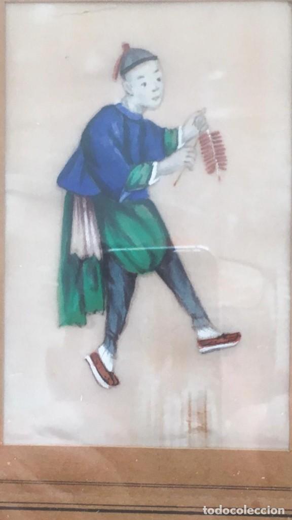 Arte: Pareja de cuadros chinos, de seda sobre papel de arroz.Siglo XIX, Una rara delicia - Foto 5 - 166180198