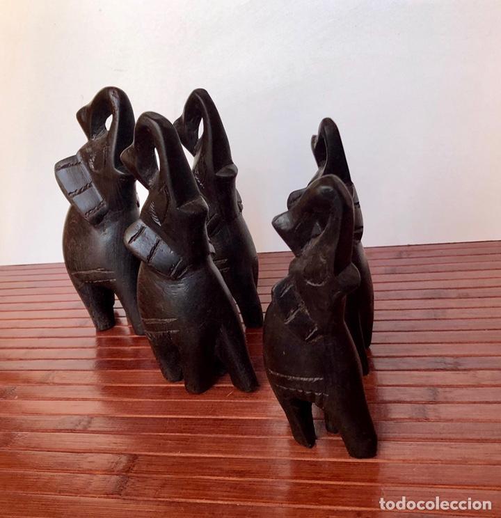 Arte: Elefante tallado madera noble. Elefante madera trompa arriba.5 piezas africa - Foto 9 - 166596349