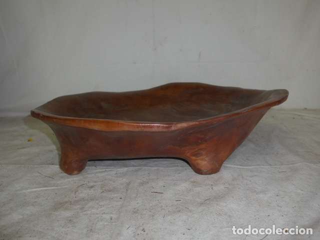 Arte: Antiguo gran centro de mesa africano, de madera tallada de tipo raiz, original. - Foto 2 - 166639454