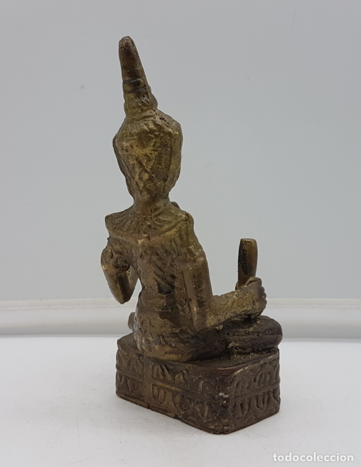 Arte: Figura antigua de músico Thai en bronce macizo, hecho in Birmania . - Foto 3 - 167855592