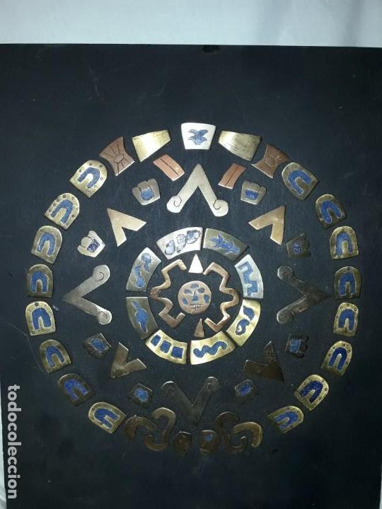 Arte: Bello cuadro Disco Solar Maya latón cobre y lapislázuli base de madera - Foto 2 - 168595584