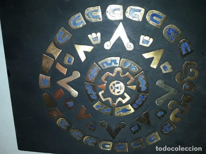 Arte: Bello cuadro Disco Solar Maya latón cobre y lapislázuli base de madera - Foto 3 - 168595584