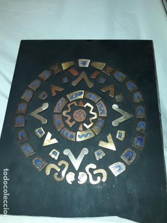 Arte: Bello cuadro Disco Solar Maya latón cobre y lapislázuli base de madera - Foto 5 - 168595584