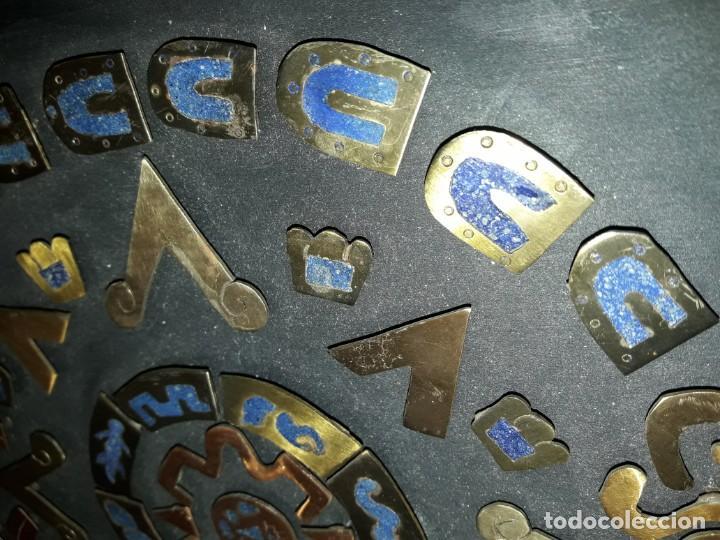 Arte: Bello cuadro Disco Solar Maya latón cobre y lapislázuli base de madera - Foto 7 - 168595584