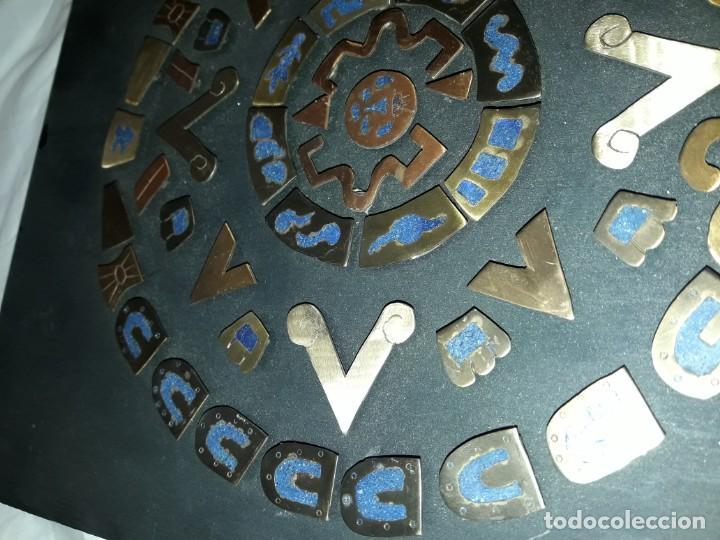 Arte: Bello cuadro Disco Solar Maya latón cobre y lapislázuli base de madera - Foto 8 - 168595584