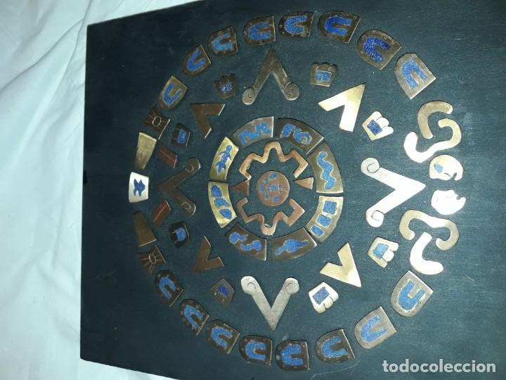 Arte: Bello cuadro Disco Solar Maya latón cobre y lapislázuli base de madera - Foto 9 - 168595584