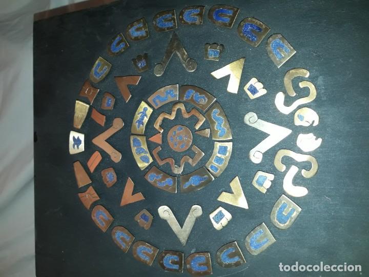 Arte: Bello cuadro Disco Solar Maya latón cobre y lapislázuli base de madera - Foto 10 - 168595584